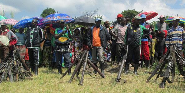 FDLR rebels surrender arms at Kateku in North Kivu. PHOTO | FILE AFP