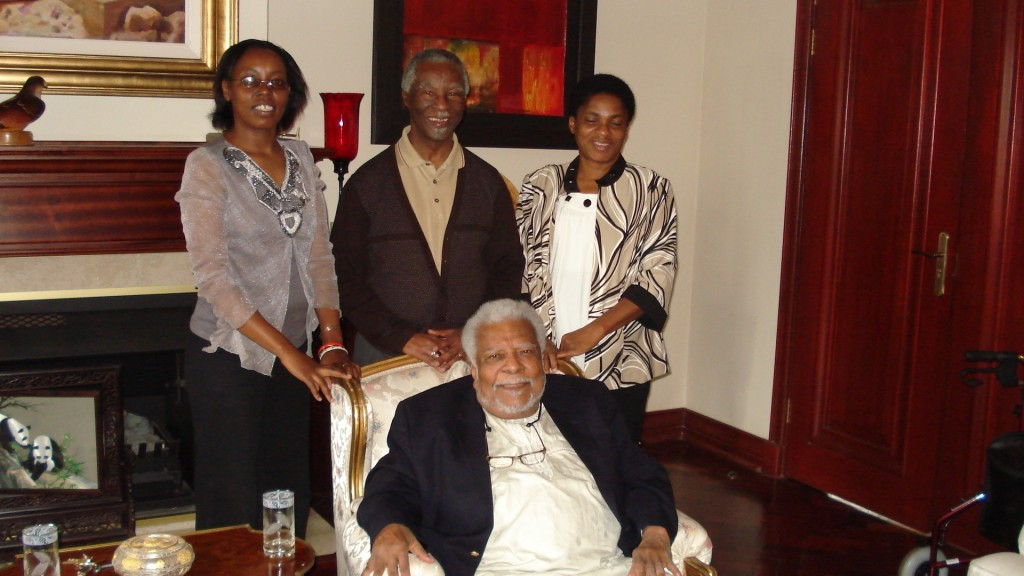 From left standing, Esther Githinji, President Mbeki, Pauline Mazrui & Professor Mazrui seated