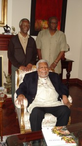 From left standing President Mbeki, Prof James Kariuki & Prof Mazrui seated