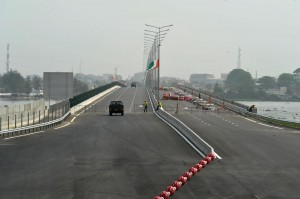 The Henri Konan Bedie bridge is seen prior to its inauguration on December 16, 2014, in Abidjan, Ivory Coast (AFP Photo/Sia Kambou)