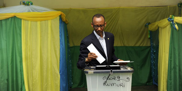 Rwandan President Paul Kagame votes during the parliamentary elections in September 2013. PHOTO | FILE