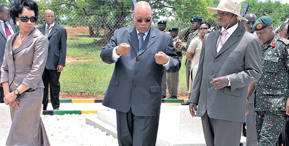 South African President Jacob Zuma (centre), Uganda's Yoweri Museveni (right) met in Kampala on December 21. In their meeting, the two leaders discussed peace and security in the Great Lakes region. PHOTO   FILE