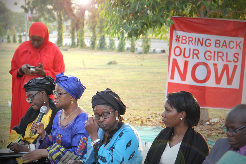 """AU Special Envoy for Women, Peace and Security, Bineta Diop and a team from the AU meets members of the """"Bring Back our Girls"""" campaign, a group that is advocating for greater global attention to the issue of the abducted Chibok girls -"""