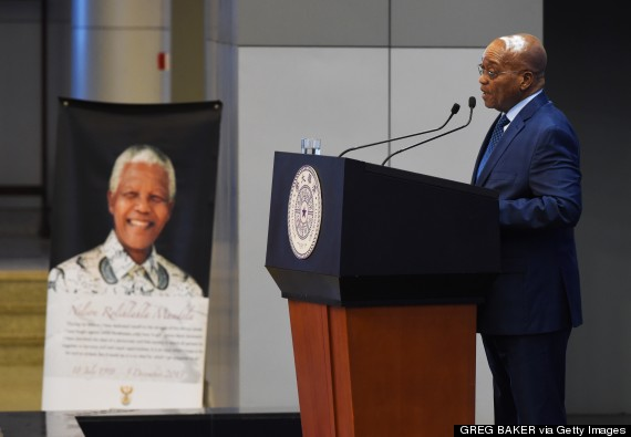 South African President Jacob Zuma makes a speech on the anniversary of Mandela's death, at Tsinghua University in Beijing on Dec. 5, 2014. (GREG BAKER/AFP/Getty Images)