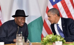 Photo: Premium Times  President Goodluck Jonathan discussing with U.S. President Barack Obama during their bilateral meeting in New York (file photo).