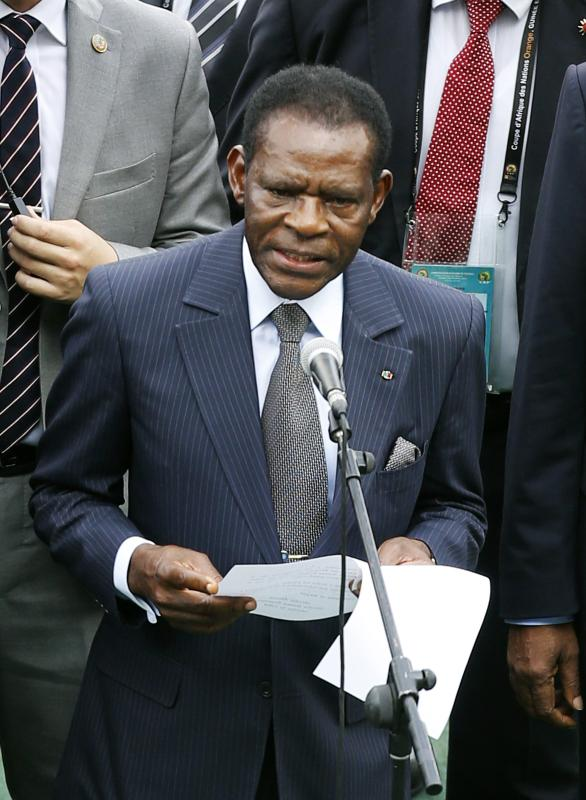 Equatorial Guinea's President Teodoro Obiang Nguema Mbasogo speaks at the opening ceremony of the 2015 African Cup of Nations (AFCON 2015) soccer tournament in Bata Stadium, in Bata January 17, 2015. The African Nations Cup is being hosted by Equatorial Guinea from January 17 to February 8. Equatorial Guinea will play against Congo in the opening match. REUTERS/Amr Abdallah Dalsh (EQUATORIAL GUINEA - Tags: SPORT SOCCER POLITICS)