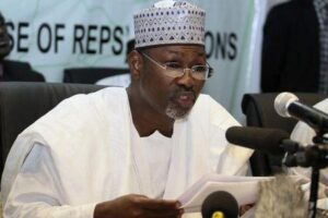 Chairman of Independent National Electoral Commission (INEC) Attahiru Jega speaks at a news conference