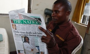 A local paper carries news of the death of Ameyo Adadevoh. Photograph: Sunday Alamba/AP
