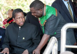 Edgar Lungu, pictured (left) in Lusaka in October, is a front-runner in Zambia's presidential election (AFP Photo/Chibala Zulu)