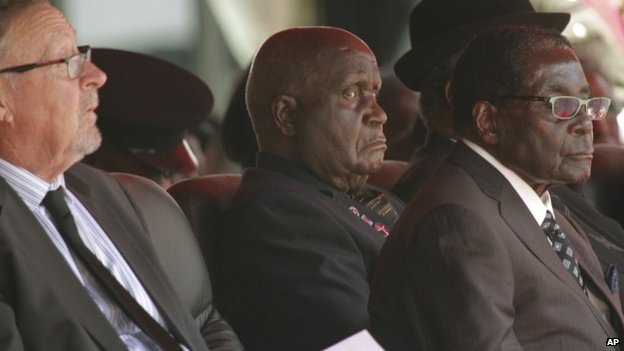 Kenneth Kaunda, seen here between Guy Scott and Robert Mugabe, has outlasted three of his successors