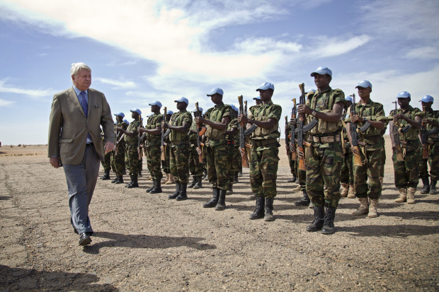 Chadian troops of the UN Multidimensional Integrated Stabilization Mission in Mali (MINUSMA) are reviewed by Hervé Ladsous, Under-Secretary-General for Peacekeeping Operations.