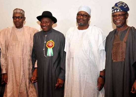 Jonathan,Buhari and the Chairmen of the ruling PDP and opposition APC
