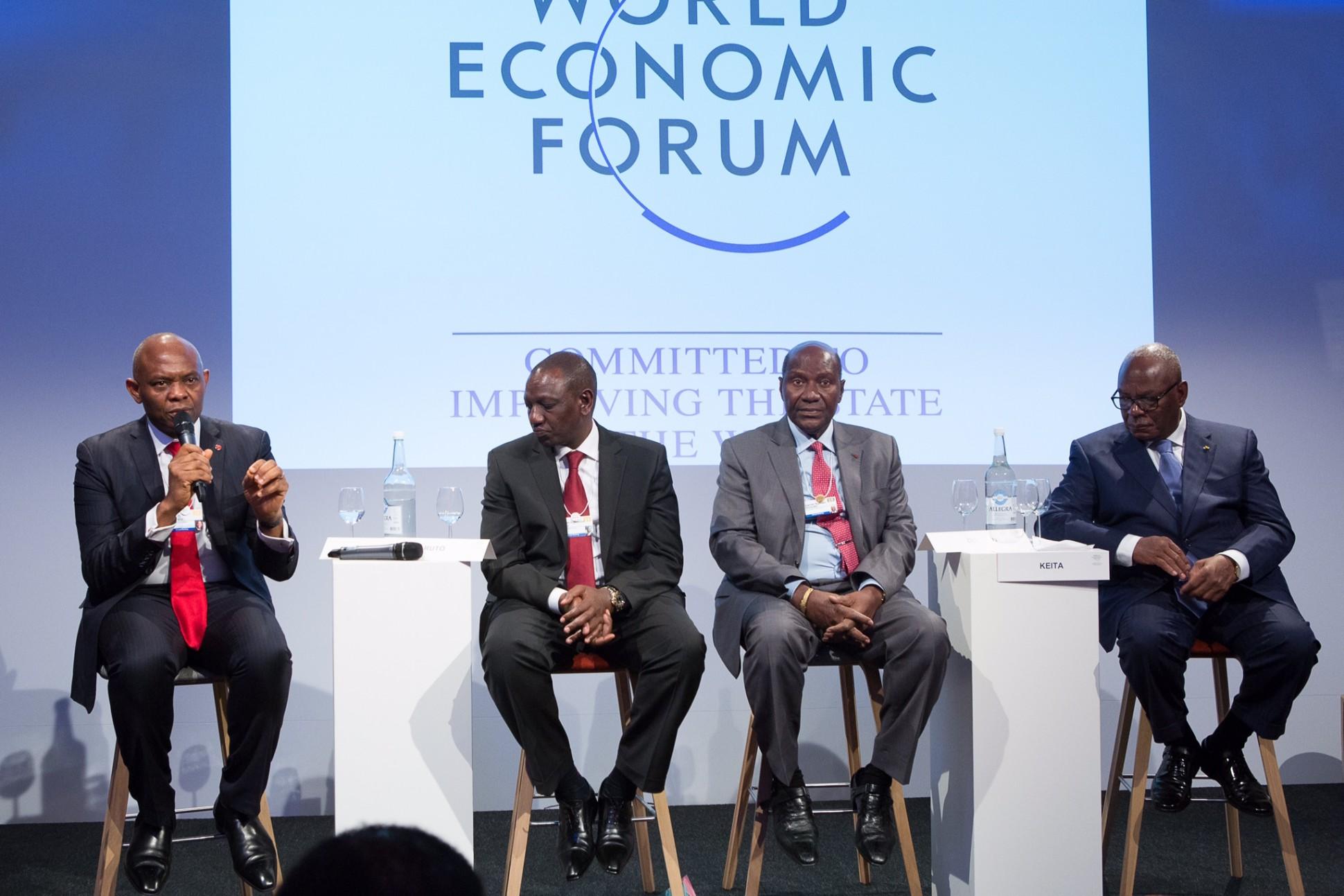 Mr. Tony O. Elumelu, CON speaking at the 2015 World Economic Forum, in Davos, Switzerland