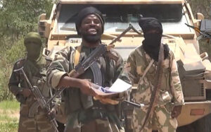 A still from a video released by the Nigerian Islamist extremist group Boko Haram Photo: AFP/Getty Images