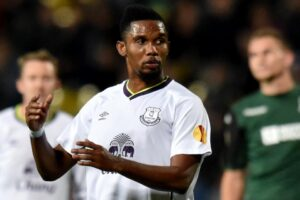 The absence from the Africa Cup of Nations of Samuel Eto'o, pictured playing for Everton against Krasnodar in October, will be a blow for the whole continent, says Stephane Mbia (AFP Photo/Kirill Kudryavtsev)