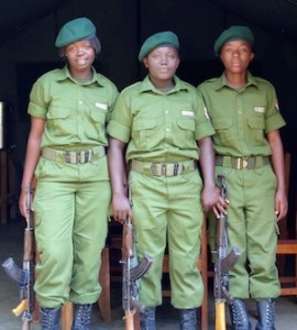 From left: Francine Bwizambule Muhimuzi, Germaine Kahambu and Alina Masika Kisambya. Photograph: Virunga national park