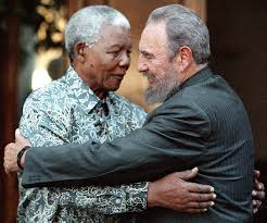 Mandela with former Cuban leader Fidel Castro