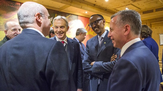 Kagame (2nd Right) and Blair at the conference in Davos on Wednesday