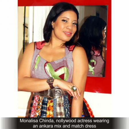 -Monalisa-Chinda-nollywood-actress-wearing-an-ankara-mix-and-match-dress