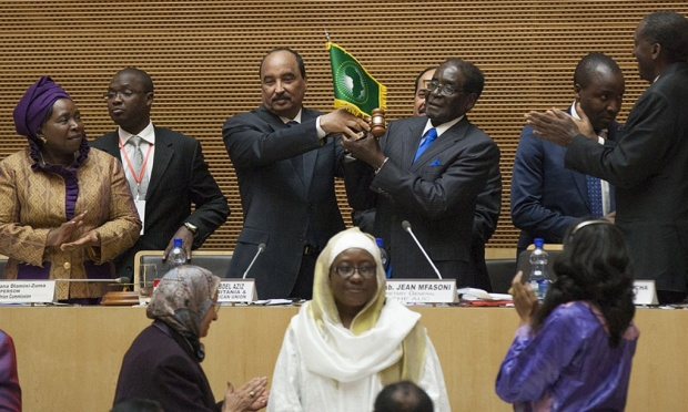 The Zimbabwean president Robert Mugabe has been sworn in as chairman of the African Union at a ceremony in Addis Ababa. Photograph: Zacharias Abubeker/AFP/Getty Images