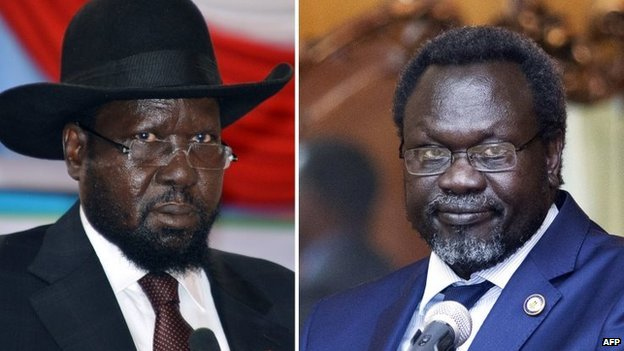 President Kiir (left) and Mr Machar signed the deal at talks in Ethiopia's capital Addis Ababa