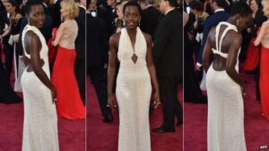 The dress is studded with 6,000 natural white pearls