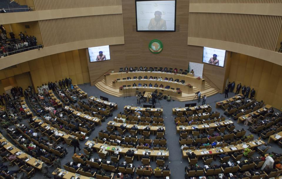The opening remarks during the opening ceremony on January 30, 2015, of the 24th Heads of State Summit at the African Union, in Addis Ababa (AFP Photo/Zacharias Abubeker)
