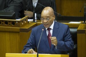 South African President Jacob Zuma, answers questions arising from the debate on his State of the Nation Address (SONA) last week at the parliament in Cape Town on February 19, 2015 (AFP Photo/Rodger Bosch)