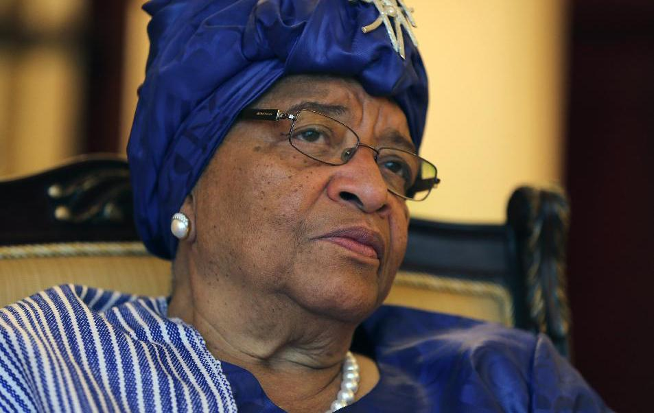 Liberian President Ellen Johnson Sirleaf speaks to The Associated Press during an interview in Sharjah, United Arab Emirates, Sunday, Feb. 22, 2015. Liberia's leader is urging the United States and other countries to keep up their support to the West African nation as it recovers from the Ebola epidemic and refocuses attention on infrastructure projects that will better position it to tackle future outbreaks of disease. (AP Photo/Kamran Jebreili)
