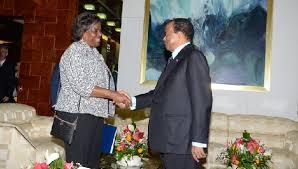 Linda Thomas-Greenfield and President Paul Biya at Unity Palace - 06/09/2014. Photo: © PRC
