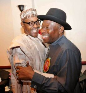 Buhari and Jonathan in warm embrace