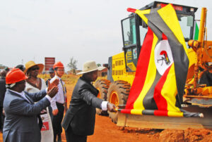 Museveni flags off the Olwiyo-Gulu-Kitgum-Musingo road works at Anaka Town Council in Nwoya District on Saturday. PHOTO BY CISSY MAKUMBI