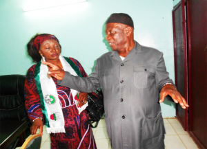 SDF Chairman John Fru Ndi and Former SG Elizabeth Tamanjong in happier days. Tamanjong recently became the 4th SG to depart from office since the party was launched in 1990