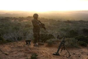 Image made available by the African Union Mission to Somalia (AMISOM) on October 6, 2014 shows an AMISOM soldier near the al-Shabab stronghold of Barawe, in the Lower Shabelle region of Somalia (AFP Photo/Tobin Jones)