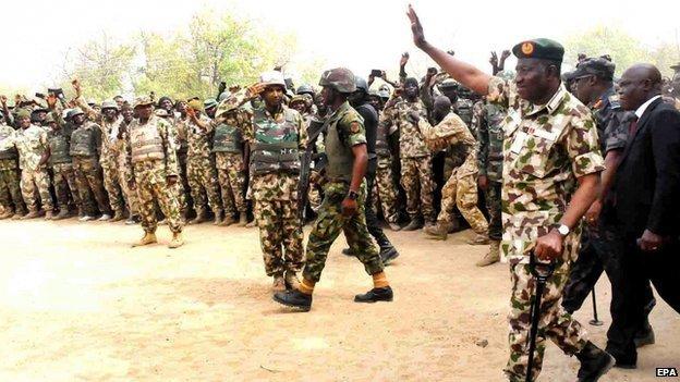 President Goodluck Jonathan visits troops