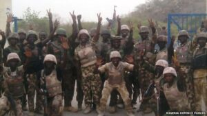 The capture of Gwoza was celebrated by Nigerian soldiers after the battle