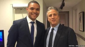 Noah tweeted this picture of himself with Jon Stewart following his debut on The Daily Show last year