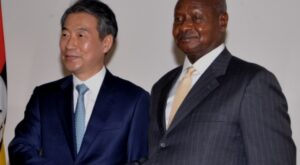 President Museveni with Hon. Chong Jong Sup at State House