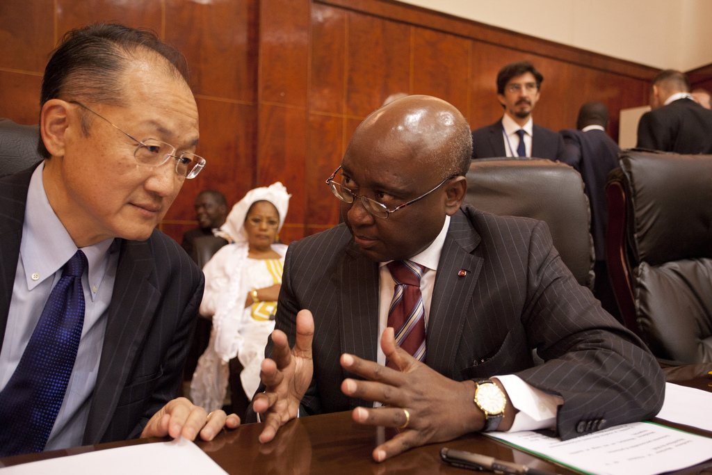 World Bank Group President, Jim Yong Kim talks with President of the African Development Bank Group Dr. Donald Kaberuka