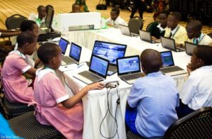 Primary school pupils using computers. (File)