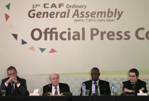 """FIFA President Sepp Blatter, second left, speaks during a joint press conference with Confederation of African Football President Issa Hayatou, second right, and FIFA Secretary General Jerome Valcke, left, and Confederation of African Football Secretary General Hicham El Amrani in Cairo, Egypt, Tuesday, April 7, 2015. Every one of Africa's 54 member countries will vote for Sepp Blatter in next month's FIFA presidential election, the continent's soccer boss said on Tuesday, referring to the 79-year-old Swiss as """"dear Sepp """". (AP Photo/Hassan Ammar)"""