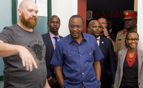 Photo: Akilah Net Erik Hersman, far left, with President Uhuru Kenyatta.