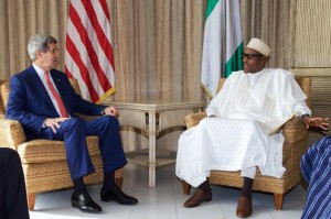 John Kerry meets Muhammadu Buhari, at the US Consulate in Lagos on January 25, 2015 (AFP Photo/Akintunde Akinleye)