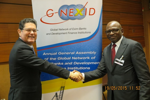 L-R: Mr. Mr. Rubens V. Amaral Jr., outgoing President of G-NEXID and CEO, Banco Latinoamericano de Comercio Exterior, S.A. (Bladex) and Mr. Roberts U. Orya, MD/CEO, Nigerian Export-Import Bank (NEXIM) and the new Honorary President of G-NEXID at the Palais des Nations, Geneva Switzerland on Tuesday, May 19th, 2015
