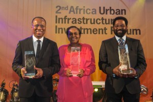 José Ulisses Correia e Silva, Mayor of Praia and President, Union of Lusophone Capital Cities (UCCLA), Cape Verde; Sarah Kyessi, representing Kinondini, Tanzania and Alfred Oko Vanderpuije, Mayor of Accra, Ghana