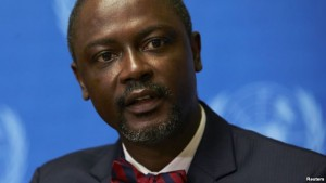 FILE - Axel Addy, Liberia's minister for commerce and industry, shown at a U.N. news conference in September 2014, says his country is is putting in place a management system to deal with another disease-related emergency, should one arise.