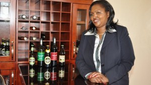 Tabitha Karanja and a range of her company's drinks