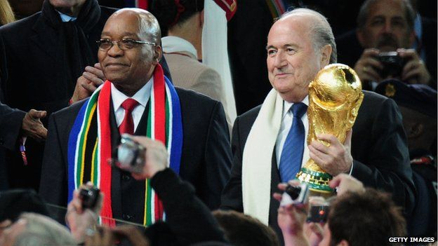 Sepp Blatter (at right, with South African President Jacob Zuma) brought the World Cup to Africa for the first time