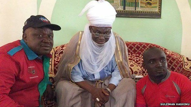 Mr Hashimu (right) meeting the Emir of Agaie, Alhaji Yusuf Nuhu (centre)