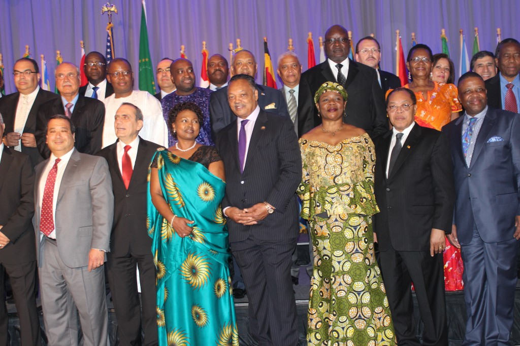 Rev Jackson and Ambassador Teitelbaum in a group photo with African Ambassadors in Washington,DC.